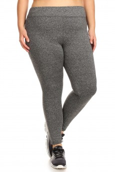PLUS SIZE HIGH WAIST BRUSH POLY FLEECE LINED LEGGING#X7L105
