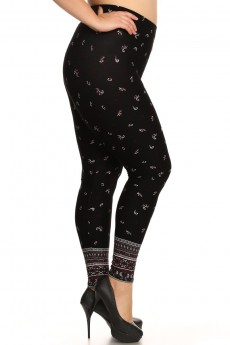 PLUS BLACK/WHITE/BURGUNDY PAISLEY BORDER PRINT BRUSH POLY LEGGINGS #X7L11-02