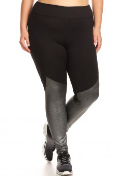 PLUS SIZE CONTRAST METALLIC KNIT LEGGING W/BACK KNEE MESH PANELS#X7L121