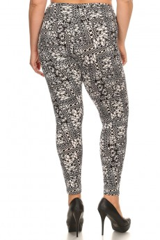 PLUS SIZE BLACK/WHITE ABSTRACT GEO PRINT BRUSH POLY HIGH WAIST LEGGING #X7L14-07