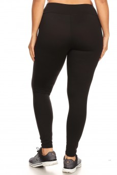 PLUS BLACK BRUSH POLY SPORT WAISTBAND LEGGING#X7L14