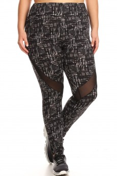 PLUS SIZE HIGH WAIST LEGGINGS WITH MESH CONTRAST#X7L20-06