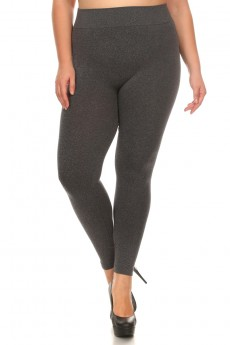 PLUS SIZE BASIC SEAMLESS JERSEY KNIT LEGGING #X7L21