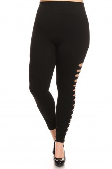 PLUS SIZE BLACK SEAMLESS LEGGING WITH SLICED CUT OUT SIDE PANELS#X7L88