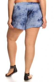 PLUS SIZE TIE DYE CRINKLE SHORTS W/ WAIST TIE AND TASSEL TRIM #X7SH03