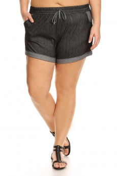 PLUS SIZE TWO TONE STRETCH DENIM SHORTS#X7SH05