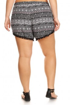 PLUS SIZE BLACK/WHITE/BURGUNDY PAISELY PRINT OVERLAP SHORTS W/ POMPOM TRIM#X7SH10-11