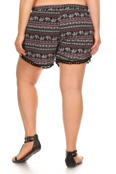 PLUS BLACK ELEPHANT PRINT OVERLAP SHORTS W/ POMPOM TRIM #X7SH10-16