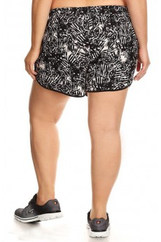 PLUS SIZE BLACK/WHITE TROPICAL PRINT POLY KNIT SHORTS WITH WAIST TIE#X7SH12-02