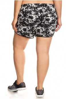 PLUS SIZE BLACK/WHITE TROPICAL PRINT POLY KNIT SHORTS WITH WAIST TIE#X7SH12-04