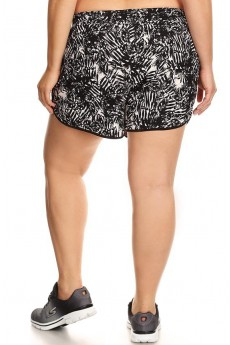 PLUS SIZE BLACK/WHITE TROPICAL PRINT POLY KNIT SHORTS WITH WAIST TIE #X7SH12-20