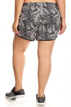PLUS SIZE BLACK/MAUVE ABSTRACT GEO PRINT POLY KNIT SHORTS W/ WAIST TIE#X7SH12-22