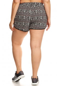 PLUS SIZE BLACK/WHITE/CORAL ELEPHANT PRINT POLY KNIT SHORTS W/ TIE#X7SH12-24