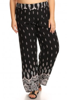 PLUS BLACK/WHITE/CORAL BOHO BORDER PRINT STRAIGHT LEG PANT #X7SLP01-07