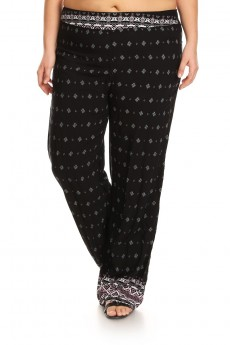 PLUS SIZE BLACK/MAUVE TRIBAL BORDER PRINT STRAIGHT LEG PANT #X7SLP01-09