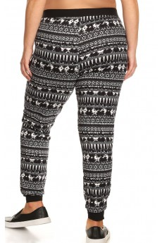 PLUS SIZE BLACK/WHITE TIE DYE PRINT BRUSH POLY JOGGER#X7TRK02-06