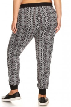 PLUS SIZE BLACK/WHITE/BURGUNDY VERTICAL AZTEC PRINT BRUSH POLY JOGGER#X7TRK02-13