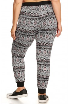 PLUS SIZE BLACK/WHITE/CORAL TRIBAL PRINT BRUSH POLY JOGGER #X7TRK02-14