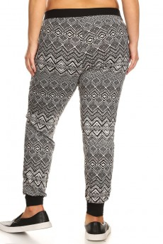 PLUS SIZE BLACK/WHITE ABSTRACT GEO PRINT BRUSH POLY JOGGER #X7TRK02-15
