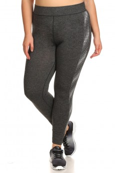 PLUS SIZE SIDE JACQUARD SEAMLESS JOGGER LEGGINGS#X7TRK05-01