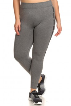 PLUS SIZE SIDE JACQUARD SEAMLESS JOGGER LEGGINGS #X7TRK05-02