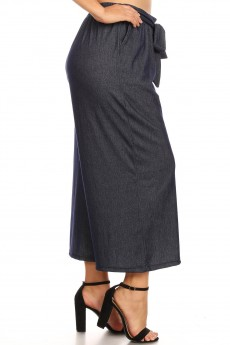 PLUS STRETCH DENIM CULOTTES W/ FRONT SELF WAIST TIE#X8CLT04