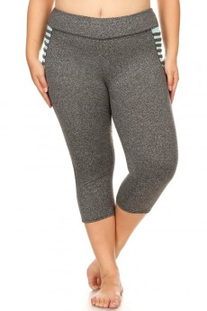 PLUS DARK HEATHER GREY COLOR BLOCK CAPRIS  W/ SIDE HIP STRAP DETAIL#X8CP14