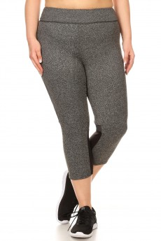 PLUS HEATER GREY COLOR BLOCKING CAPRIS WITH MESH#X8CP17