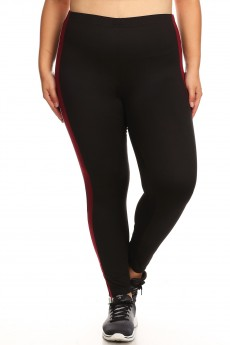 PLUS SPORT BRUSH POLY LEGGING W/CONTRAST SIDE PANELS& COLORED STRIP# X8L103