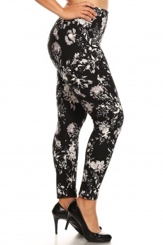 PLUS BLACK/WHIET FLORAL PRINT BASIC BRUSH POLY FLEECE LINED LEGGING #X8L105-01