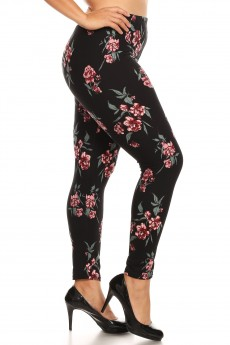 PLUS BLACK/RED GREEN FLORAL PRINT BASIC BRUSH POLY FLEECE LINED LEGGING#X8L105-02