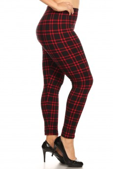 PLUS BLACK/RED PLAID PRINT BASIC BRUSH POLY FLEECE LINED LEGGING#X8L105-05