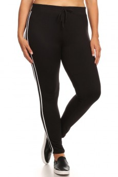 PLUS BLACK STRIPED LEGGING W/ CONTRAST WAIST AND SIDE PANEL#X8L31