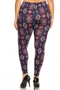 PLUS NAVY/RED/CREAM TRIBAL PRINT BRUSH POLY LEGGING#X8L34-06
