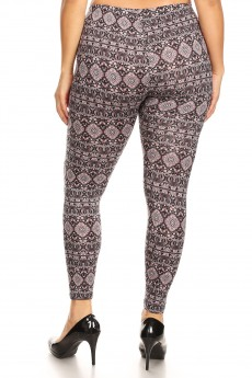 PLUS BLACK/WHITE/BUR ELEPHANT PRINT BRUSH POLY LEGGING#X8L34-BH11