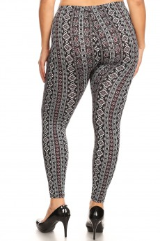PLUS BLACK/WHITE/BURGUNDY BOHO PRINT BRUSH POLY LEGGING#X8L34-BH12