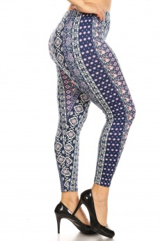 PLUS NAVY/CREAM/PINK BOHO PRINT BRUSH POLY LEGGING#X8L34-BH14