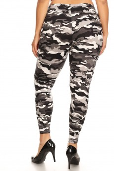 PLUS BLACK/WHIET/GREY CAMO PRINT BRUSH POLY LEGGING#X8L34-CM02