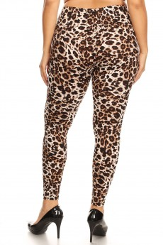 PLUS BROWN/BLACK/WHITE ANIMAL PRINT BRUSH POLY LEGGING#X8L34-SK02
