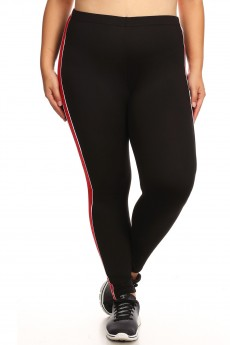 PLUS SPORT BRUSH POLY LEGGING W/ CONTRAST SIDE STRIPES#X8L99