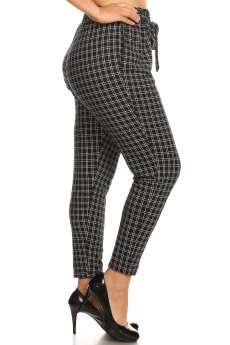 PLUS BLACK/WHITE PLAID PRINT PAPER BAG WAIST PANTS#X8PNT03-03