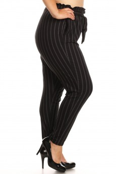 PLUS BLACK/DARK GREY STRIPE PRINT PAPER BAG WAIST PANTS#X8PNT03-05