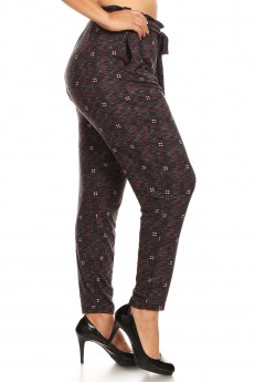 PLUS HEATHER CHARCOAL/BURGUNDY SPACE DYE PLAID PRINT PAPER BAG WAIST PANTS#X8PNT03-07