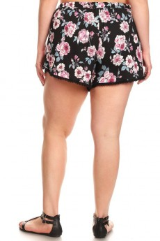 BLACK/PINK/GREY FLORAL PRINT BRUSH POLY POMPOM SHORTS W/ TASSEL#X8SH26-05