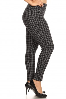 BLACK/WHITE PLAID PRINT TREGGING WITH ZIPPER DETAIL#X8TRG10-02