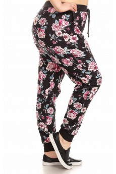 PLUS SIZE BLACK/PINK/GRAY FLORAL PRINT BRUSH POLY JOGGER#X8TRK19-03