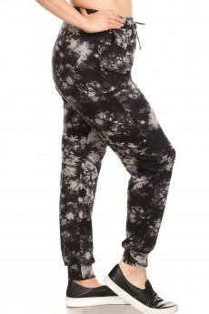 PLUS BLACK/GREY TIE DYE PRINT BRUSH POLY JOGGER#X8TRK19-12