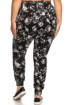 PLUS BLACK/WHITE FLORAL PRINT JOGGER WITH SHOE LACE TIE#X8TRK36-03