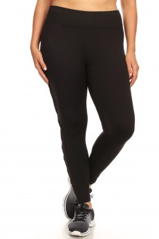 PLUS LEGGING W/ CONTRAST MESH & CRISS CROSS SIDE PANELS#X9L03
