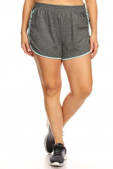 PLUS DARK HEATHER GREY DOLPHIN HEM SHORTS W/ SIDE STRAP DETAIL#X9SH13